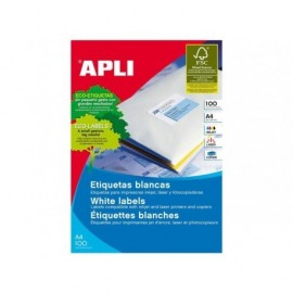 Etiquetas Apli 105 x 35 mm. en blanco cantos rectos (100 hojas)