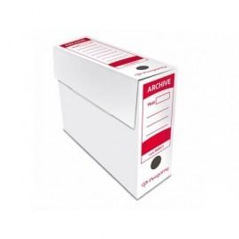 PERGAMY Caja archivo definitivo facil montaje Folio 365x255x100mm Blanco Cartón ondulado