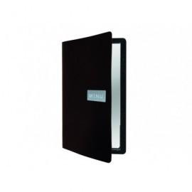 SECURIT Porta menús de cuero negro rugoso MC-LRA4-RWBL