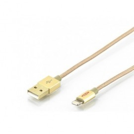 EDNET Cable cargador Lightning para Apple - USB 2.0,  1.0m, cable de Nylon color Dorado 31060