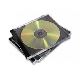 FELLOWES Pack de 10 cajas CD/DVD Jewel plástico transparente negro 98310