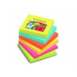 PERGAMY Pack 6 blocs de notas Zig-Zag reposicionables 76x76 colores surtidos neon