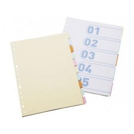 DEFINICLAS Separadores 5 posiciones Folio/A4 Colores surtidos Cartulina 95677