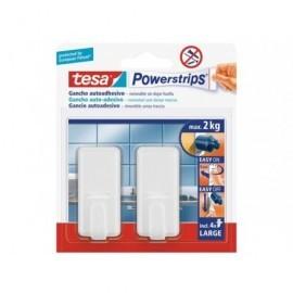 TESA Menaje Powerstrips 2 ganchos+4 tiras Para fijar en el hogar hasta 2Kg 58010-00045-01