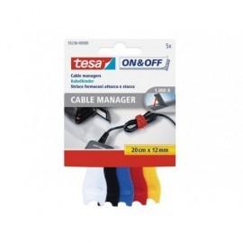 TESA Organizador de cables Manager 20cm x 12mm/pack 5 unidades/colores surtidos 55236-00000-01