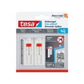 TESA Clavo Adhesivo Ajustable hasta 1Kg para Pared Pintada 777740000100