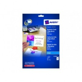 AVERY Tarjeta visita caja 80ud/10hojas 85x54mm Inkjet glossy Acabado imprenta borde liso C32028-10