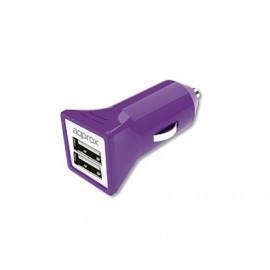 Cargador Doble USB para Coche (Púrpura) APPROX