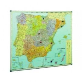 PLANNING SISPLAMO Mapa España 103X129 Magnetico Plastificado  Marco Alumnio 153