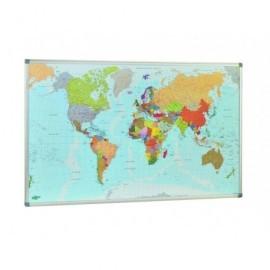 FAIBO Mapa mundo 84x140 Magnetico Plastificado Marco Alumnio 173