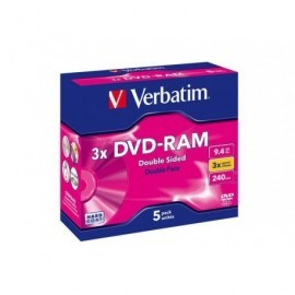 VERBATIM DVD-RAM Doble cara pack caja 5 ud 3x 9,4GB 240min 43493