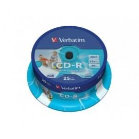 VERBATIM CD-R AZO Wide bobina pack 25 ud 52x 700MB 80min imprimible 43439