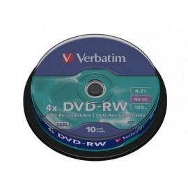 VERBATIM DVD-RW Advanced SERL bobina pack 10 ud 4x 4,7GB 120 min 43552