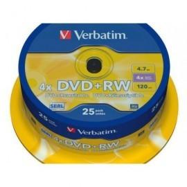 VERBATIM DVD+RW Advanced SERL bobina pack 25 ud 4x 4,7GB 120 min 43489