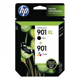 HP Pack 2 Cartuchos negra de alto rendimiento 901XL y tricolor 901