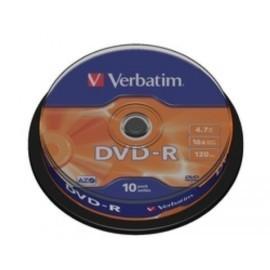 DVD R VERBATIM 4 7GB 16x SPINDLE 10 ADVANCED AZO Incluye Canon LPI de 2 10
