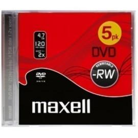 DVD RW MAXELL 4 7GB 2x JEWEL CASE PACK 5 Incluye Canon LPI de 1 40