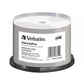 VERBATIM DVD-R DataLifePlus Wide thermal profesional bobina pack 50 ud 16x 4,7GB imprimible 43755