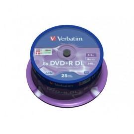VERBATIM DVD+R Matt Silver doble capa bobina pack 25 ud 8x 8,5GB 240min 43757