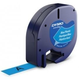 CINTA de ROTULAR DYMO LETRATAG PLASTICO 4m 12mm NEGRO sobre AZUL 91205