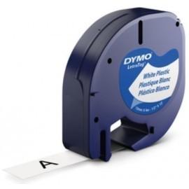 CINTA de ROTULAR DYMO LETRATAG PLASTICO 4m 12mm NEGRO sobre BLANCO 91201