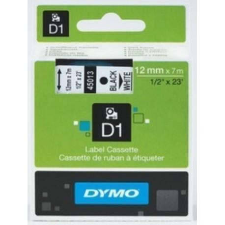 CINTA de ROTULAR DYMO LM D1 7m 12mm NEGRO sobre BLANCO 45013