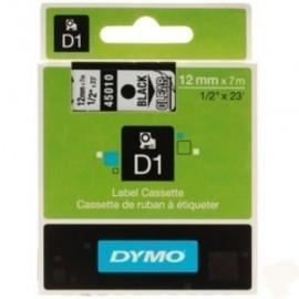 CINTA de ROTULAR DYMO LM D1 7m 12mm NEGRO sobre TRANSPARENTE 45010