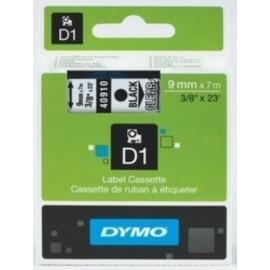 CINTA de ROTULAR DYMO LM D1 7m 9mm NEGRO sobre TRANSPARENTE 40910
