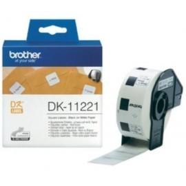 ETIQUETAS BROTHER PRECORTADA PAPEL BLANCO 23x23 mm ROLLO 1 000 uds CUADRADAS DK11221