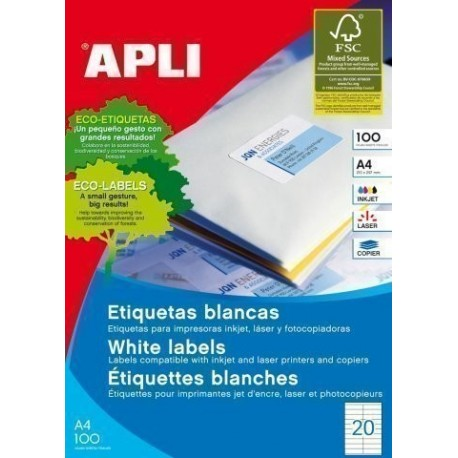 ETIQUETAS ADH IMPR APLI A4 BLANCA C RECTOS CAJA 100h 105x 29 mm 2 000 uds 01299