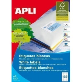 ETIQUETAS ADH IMPR APLI A4 BLANCA C RECTOS CAJA 100h 48 5x25 4 mm 4 400 uds 01285