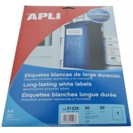 ETIQUETAS ADH IMPR APLI A4 POLYESTER MATE RESISTENTE INTEMPERIE LS CP BLISTER 20h BLANCO 210x297 mm C RECTOS 20 uds 01228