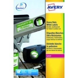 ETIQUETAS ADH IMPR AVERY A4 POLYESTER BLANCO C RECTOS LASER CAJA 20h 210x297 mm 20 uds L4775