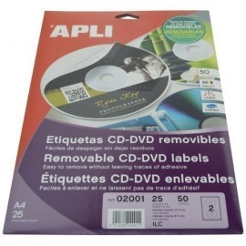 ETIQUETAS ADH IMPR APLI A4 MULTIMED CD DVD CLASICA BLISTER 25h REMOVIBLE MATE Ø ext 114 e int 41 mm 50 uds 02001