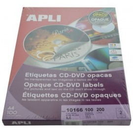 ETIQUETAS ADH IMPR APLI A4 MULTIMED CD DVD CLASICA CAJA 100h DORSO OPACO Ø ext 114 e int 41 mm 200 uds 10166