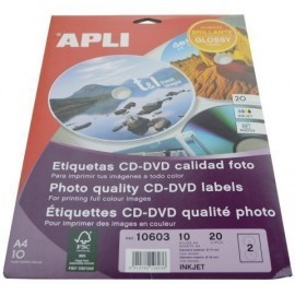 ETIQUETAS ADH IMPR APLI A4 MULTIMED CD DVD MEGA BLISTER 10h INKJET BRILLO Ø ext 117 e int 18 mm 20 uds 10603