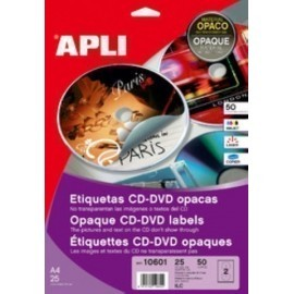 ETIQUETAS ADH IMPR APLI A4 MULTIMED CD DVD MEGA BLISTER 25h DORSO OPACO Ø ext 117 e int 18 mm 50 uds 10601
