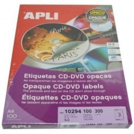 ETIQUETAS ADH IMPR APLI A4 MULTIMED CD DVD MEGA CAJA 100h DORSO OPACO Ø ext 114 e int 18 mm 300 uds 10294