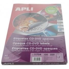 ETIQUETAS ADH IMPR APLI A4 MULTIMED CD DVD MEGA CAJA 100h DORSO OPACO Ø ext 117 e int 18 mm 200 uds 11704