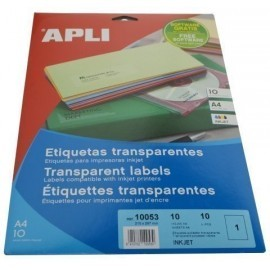 ETIQUETAS ADH IMPR APLI A4 POLYESTER TRANSP BRILLO INKJET BLISTER 10h 210x297 mm C RECTOS 10 uds 10053