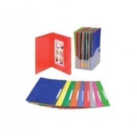CARPETA de GOMAS y SOLAPAS CARCHIVO PP OPACO F con ETIQUETA 10 colores surtidos