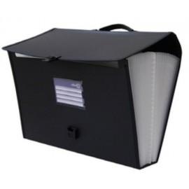 CLASIFICADOR ACORDEON OFFICE BOX PP 385x290mm 24 DPTOS MALETIN con ASA LOMO 70mm NEGRO