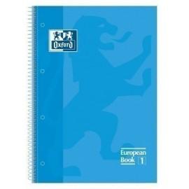BLOCK OXFORD SCHOOL EU BOOK 1 micro tapa EXTRA A4 80h CUADRIC 5x5 90g AZUL TURQUESA