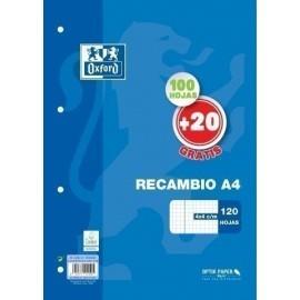 RECAMBIO OXFORD SCHOOL A4 120h 100 20 90gr 4 TALADROS CUADRIC 4x4 C MARGEN AZUL