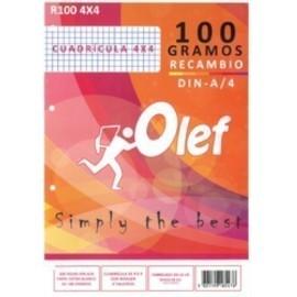 RECAMBIO OLEF A4 100h 100gr 4 TALADROS CUADRIC 4x4