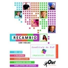 RECAMBIO OLEF A4 100h 100gr 4 TALADROS CUADRIC 5x5 5 colores en banda