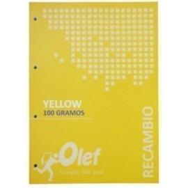 RECAMBIO OLEF A4 80h 100gr 4 TALADROS CUADRIC 5x5 AMARILLO