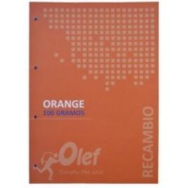 RECAMBIO OLEF A4 80h 100gr 4 TALADROS CUADRIC 5x5 NARANJA
