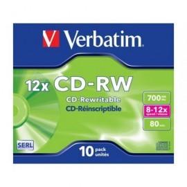 VERBATIM CD-RW Datalife pack caja 10 ud 12x 700MB 80min 43148
