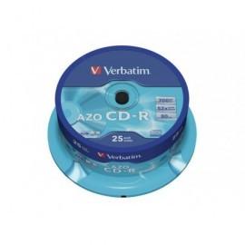 VERBATIM CD-R  AZO Crystal bobina pack 25 ud 52x 700MB 80min 43352